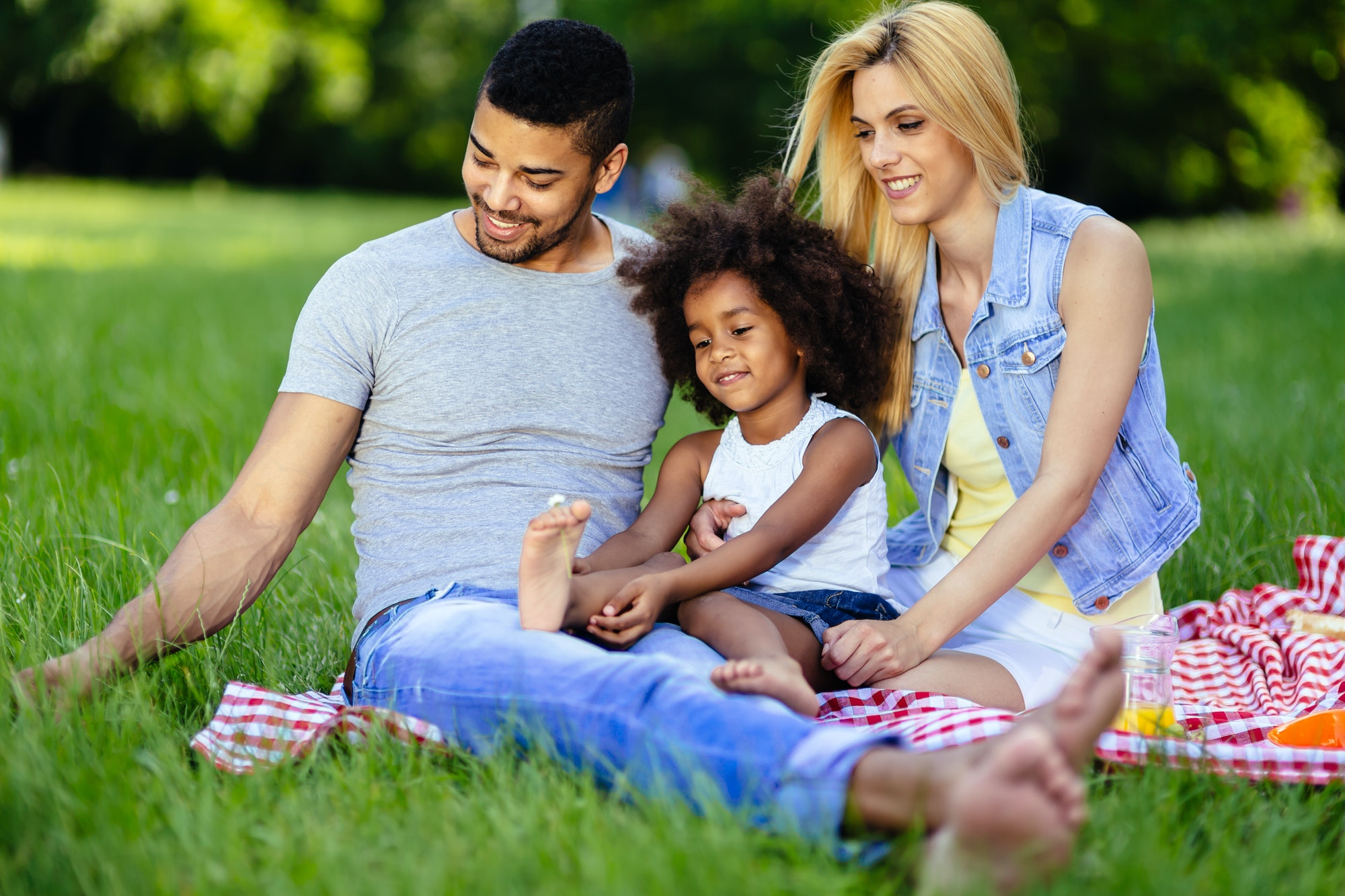 Family picnicking outdoors